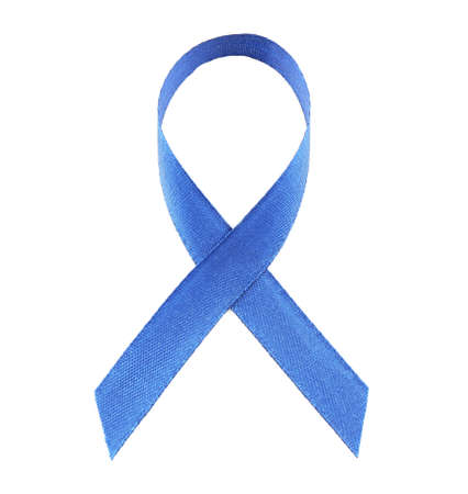 Blue ribbon isolated on white. Colon cancer concept