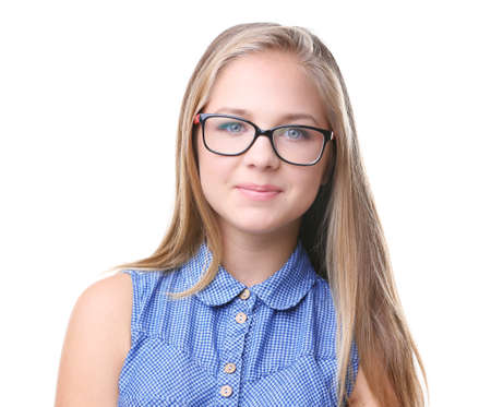 Portrait of pretty teenager girl wearing glasses, isolated on white