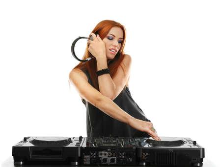 Beautiful female dj mixing music on white background