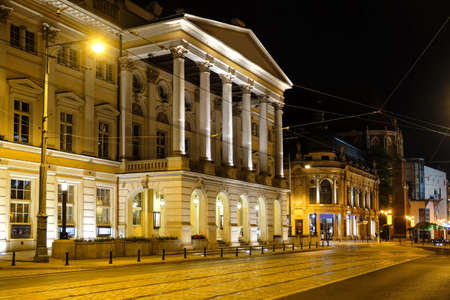 Exterior of beautiful building in city at night time