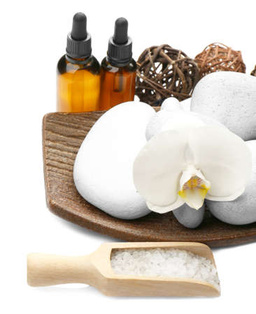 Beautiful spa composition on white background Stock Photo