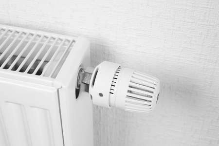 Temperature knob of heating radiator Stock Photo