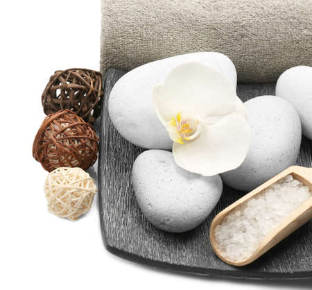 Beautiful spa composition on white background 写真素材