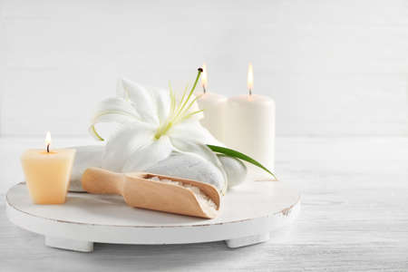Beautiful spa composition on light background