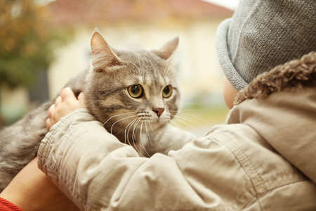 Adorable little boy with fluffy cat outdoors, closeup
