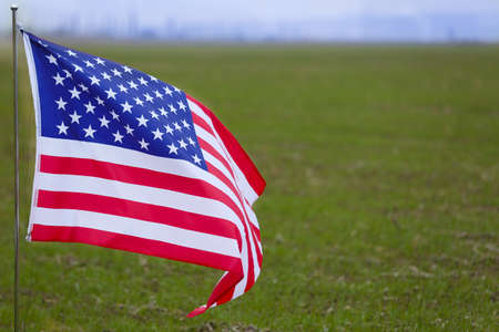 United States national flag on green grass background Stock Photo