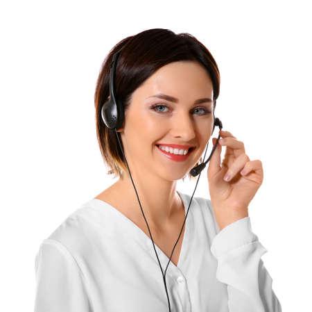 Despachador de call center de soporte técnico femenino sobre fondo blanco