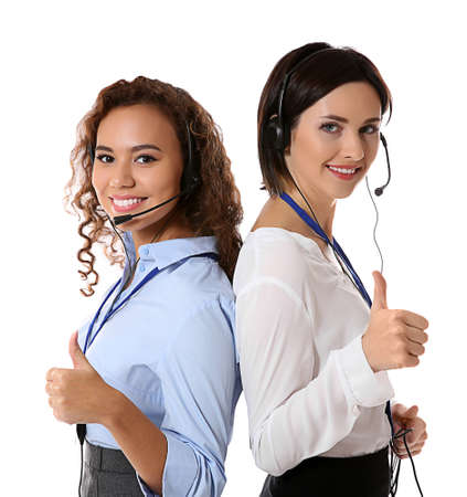 Technical support call center dispatchers on white background