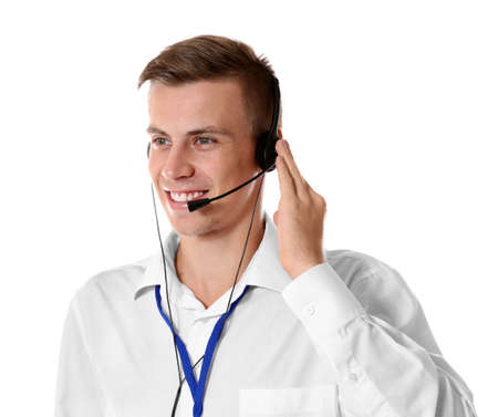 Young male technical support dispatcher on white background Stock Photo