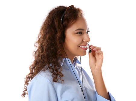 Female technical support call center dispatcher on white background