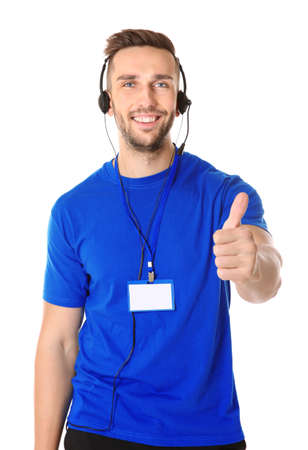 Young male technical support dispatcher on white background