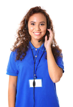 Young female technical support dispatcher on white background