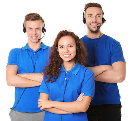 Team of friendly technical support dispatchers on white background