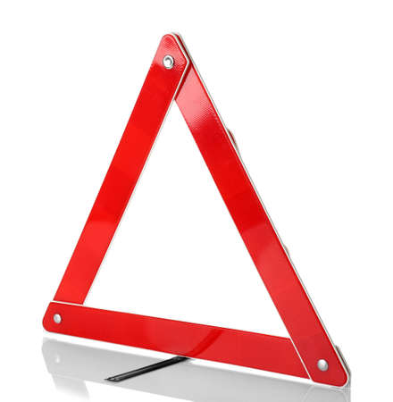 Warning accident traffic sign. Red triangle isolated on white