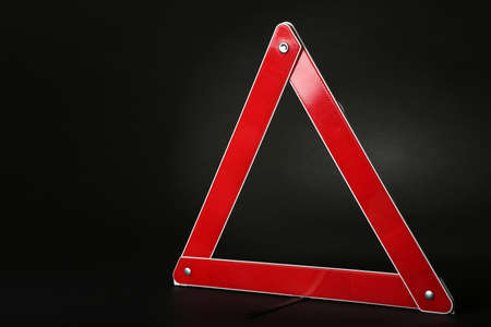 Warning accident traffic sign. Red triangle on black background