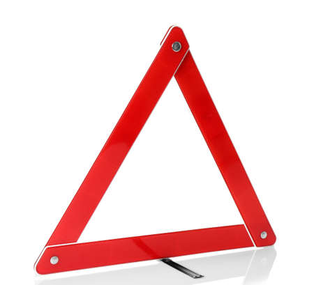 Warning accident traffic sign. Red triangle isolated on white Stock Photo