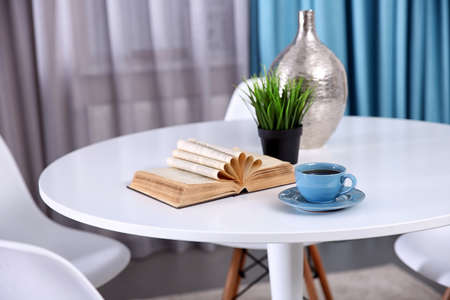 Cup of delicious tea on white table Stock Photo