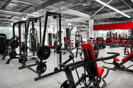 Weight lifting machines in gym