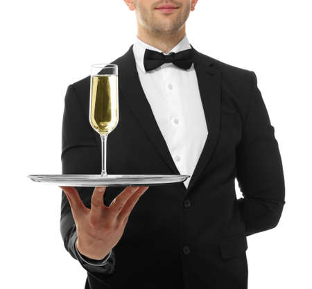 Close up view of waiter holding tray with glass of champagne, on white background