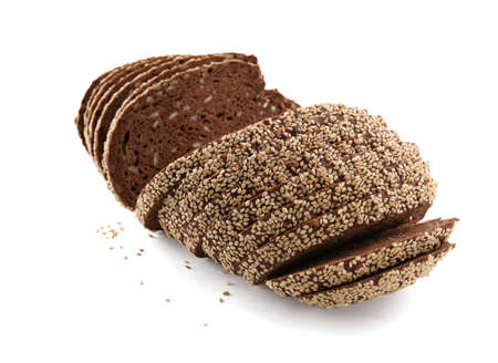 Sliced bread with seeds and sesame isolated on white