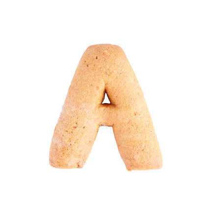 Cookie letter A on white background