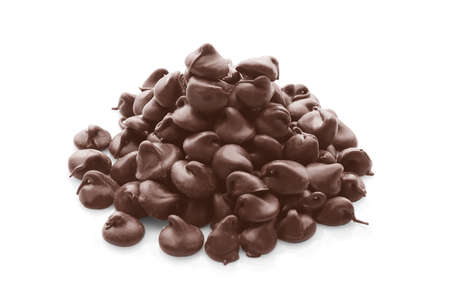 Heap of tasty chocolate chips on white background