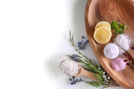 Composition of natural ingredients for homemade cosmetic on wooden board