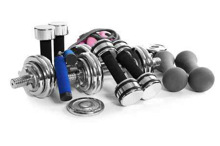 Set of sports equipment for bodybuilding, on white background