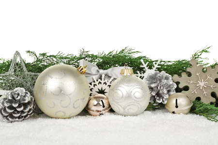 Beautiful composition of Christmas decor on white background, close up view