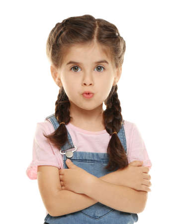 Cute little girl on white background Stock Photo