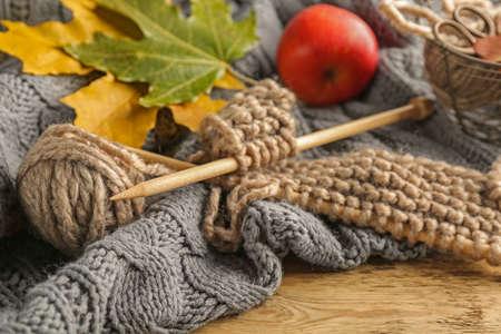 Knitting wool and needles, closeup
