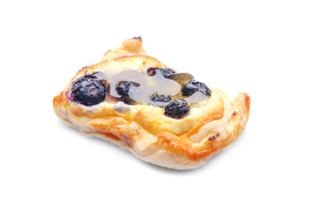Sweet bilberry pastry on white background Stock Photo