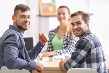 Job applicant having interview in office