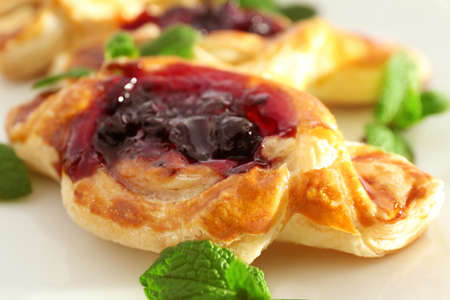 Sweet tasty pastries with jam, closeup