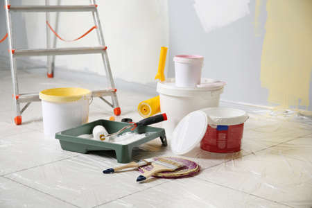 Set of painter tools on floor 免版税图像 - 97159480