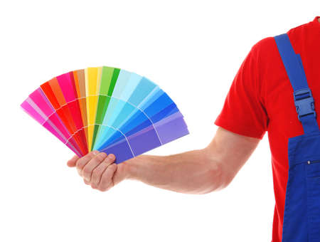 Decorator with color samples on white background, closeup
