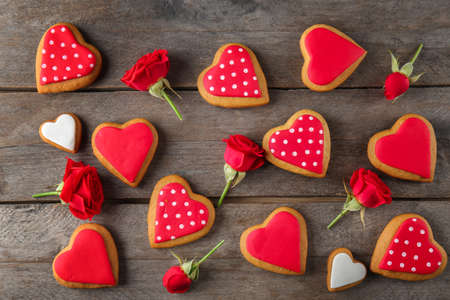 Valentine heart cookies on wooden background