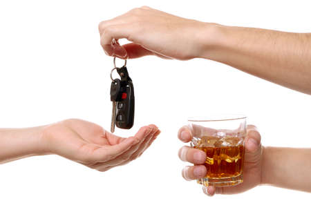 Drunk man giving car key to woman, on white background. Dont drink and drive concept
