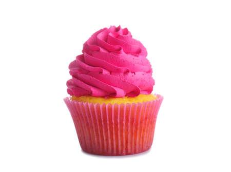 Fresh tasty cupcake on white background
