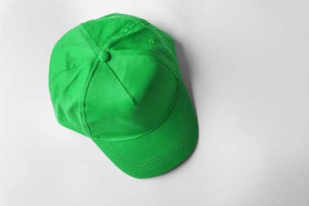 Blank green baseball cap on white background Stock Photo