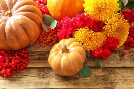 Pumpkins, rowan and viburnum on wooden background