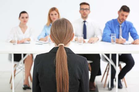 Job interview concept. Human resources commission interviewing woman Stock fotó - 97448656