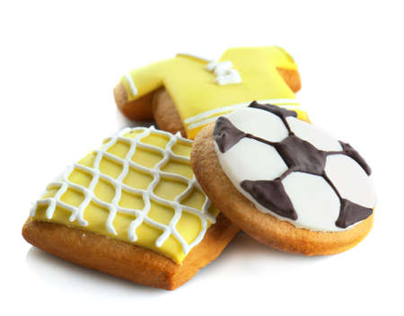 Football cookies on white background Stock Photo