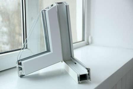 Sample of window profile on windowsill