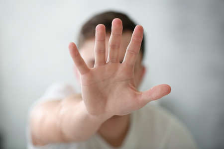 Hand of depressed man closeup