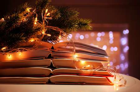 Pile of open books, coniferous branch and garland, closeup