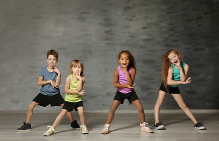Cute funny children in dance studio