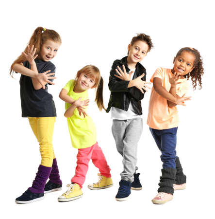 Cute little dancers on white background Stock Photo