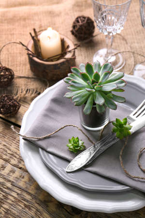 Table served with succulents on plate
