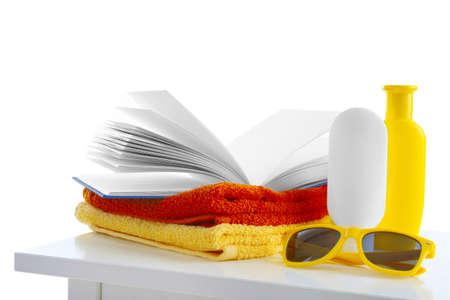 Set for reading at beach. Summer holidays concept 版權商用圖片
